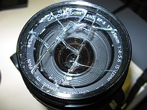 broken camera uv filter glass lens
